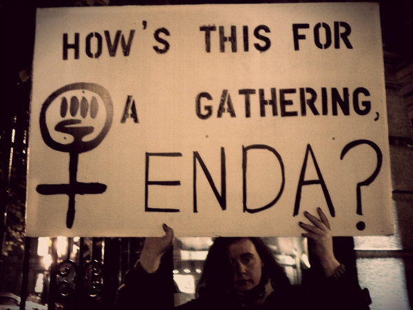"Sign: ""How's this for a gathering, Enda?"""